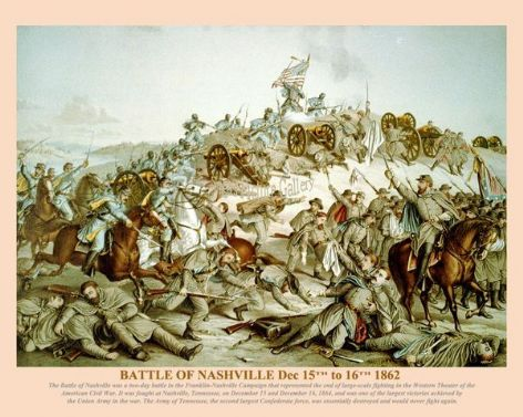 Fine art print of the American Civil War of the Battle of Nashville Dec 15th to 16th 1862